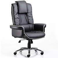 Chelsea Executive High Back Heavy Duty Office Chair Black Bonded Leather With Static Arms Wide Seat & Height Adjustable Headrest - Weight Tolerance Up to 150kg