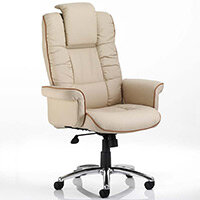 Chelsea Executive High Back Heavy Duty Office Chair Cream Bonded Leather With Static Arms Wide Seat & Height Adjustable Headrest - Weight Tolerance Up to 150kg