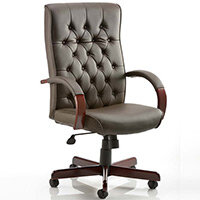Chesterfield Executive Office Chair - Brown Leather Seat & Back - Fixed Wooden Padded Arms - Wooden 5 Star Castor Base - Weight Tolerance: 110Kg