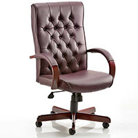 Chesterfield Executive Office Chair - Burgundy Leather Seat & Back - Fixed Wooden Padded Arms - Wooden 5 Star Castor Base - Weight Tolerance: 110Kg