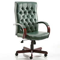 Chesterfield Executive Office Chair - Green Leather Seat & Back - Fixed Wooden Padded Arms - Wooden 5 Star Castor Base