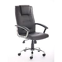 Thrift Executive Office Chair Black Bonded Leather With Padded Arms