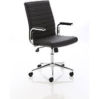 Ezra Executive Office Chair - Black Leather Seat & Back - Chrome Base - Fixed Padded Arms