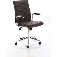 Ezra Executive Office Chair - Brown Leather Seat & Back - Chrome Base - Fixed Padded Arms
