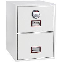 Phoenix World Class Vertical Fire File FS2262E 2 Drawer Filing Cabinet with Electronic Lock White