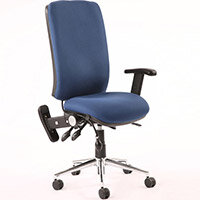 Chiro High Back Task Operator Office Chair Blue With Height Adjustable & Folding Arms