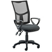 Eclipse II Lever Task Operator Office Chair Mesh Back With Charcoal Seat & Loop Arms