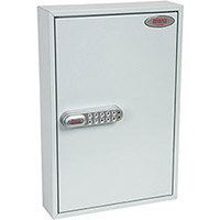 Phoenix Commercial Key Cabinet KC0602S 64 Hook with Electronic Lock & Push Shut Latch. Light Grey