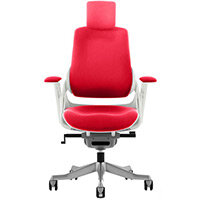 Zure High Back Executive Office Chair Cherry Red With Height Adjustable Pivot Arms & Headrest