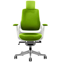 Zure High Back Executive Office Chair Swizzle Green With Height Adjustable Pivot Arms & Headrest