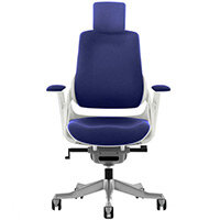 Zure High Back Executive Office Chair Serene Blue With Height Adjustable Pivot Arms & Headrest