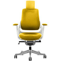 Zure High Back Executive Office Chair Sunset Yellow With Height Adjustable Pivot Arms & Headrest