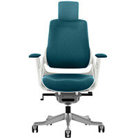 Zure High Back Executive Office Chair Kingfisher Green With Height Adjustable Pivot Arms & Headrest