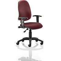 Eclipse I Lever Task Operator Office Chair With Height Adjustable Arms In Chilli Red