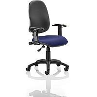 Eclipse I Lever Task Operator Office Chair With Height Adjustable Arms Black Back Serene Blue Seat