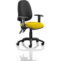 Eclipse I Lever Task Operator Office Chair With Height Adjustable Arms Black Back Sunset Yellow Seat