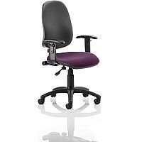 Eclipse I Lever Task Operator Office Chair With Height Adjustable Arms Black Back Purple Seat