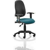 Eclipse I Lever Task Operator Office Chair With Height Adjustable Arms Black Back Kingfisher Green Seat