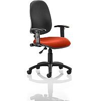 Eclipse I Lever Task Operator Office Chair With Height Adjustable Arms Black Back Pimento Rustic Orange Seat