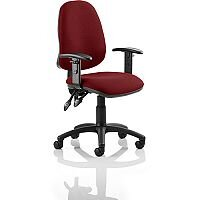 Eclipse II Lever Task Operator Office Chair With Height Adjustable Arms In Chilli Red