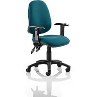 Eclipse II Lever Task Operator Office Chair With Height Adjustable Arms In Kingfisher Green