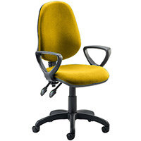 Eclipse II Lever Task Operator Office Chair With Loop Arms In Sunset Yellow
