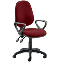 Eclipse II Lever Task Operator Office Chair With Loop Arms In Chilli Red
