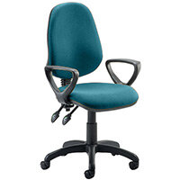 Eclipse II Lever Task Operator Office Chair With Loop Arms In Kingfisher Green