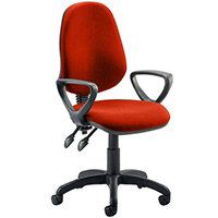 Eclipse II Lever Task Operator Office Chair With Loop Arms In Pimento Rustic Orange