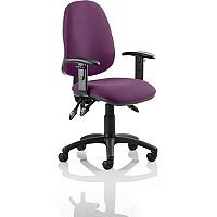 Eclipse III Lever Task Operator Office Chair With Height Adjustable Arms In Purple