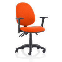 Eclipse III Lever Task Operator Office Chair With Height Adjustable Arms In Pimento Rustic Orange