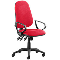 Eclipse III Lever Task Operator Office Chair With Loop Arms In Cherry Red