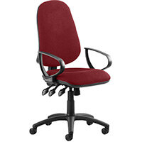Eclipse III Lever Task Operator Office Chair With Loop Arms In Chilli Red