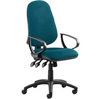 Eclipse III Lever Task Operator Office Chair With Loop Arms In Kingfisher Green