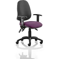 Eclipse III Lever Task Operator Office Chair With Height Adjustable Arms Black Back Purple Seat