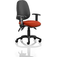 Eclipse III Lever Task Operator Office Chair With Height Adjustable Arms Black Back Pimento Rustic Orange Seat