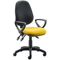 Eclipse III Lever Task Operator Office Chair With Loop Arms Black Back Sunset Yellow Seat
