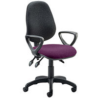 Eclipse III Lever Task Operator Office Chair With Loop Arms Black Back Purple Seat