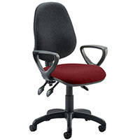 Eclipse III Lever Task Operator Office Chair With Loop Arms Black Back Chilli Red Seat