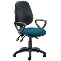 Eclipse III Lever Task Operator Office Chair With Loop Arms Black Back Kingfisher Green Seat