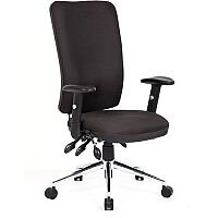 Chiro High Back Task Operators Office Chair Black With Arms, 24/7 Task Usage, Adjustable pump up lumbar, Height Adjustable Back Rest, 3 Lever Mechanism, Gas lift tested up to 150kg