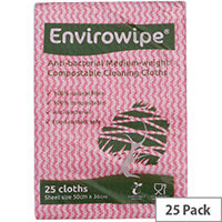 Envirowipe Antibacterial Red Colour Coded Cleaning Cloths 25 Pack EWF151