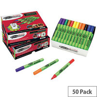 Show-me Medium Dry-wipe Pen Assorted Pack Of 50. Colours Included Are - Black, Yellow, Orange, Red, Blue, Brown, Green and Purple. Ideal For Use In Schools, Colleges, Offices, Homes & More.