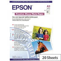 Epson A3 Glossy Premium Photo Paper (Pack of 20)