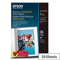 Epson A4 Semi-Glossy Premium Photo Paper 251gsm (Pack of 20)