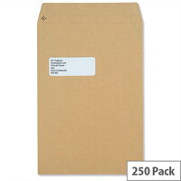 New Guardian Window 130gsm Envelopes C4 Manilla Pocket Peel and Seal Heavyweight (Pack of 250)