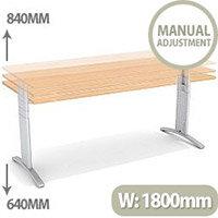 Flex R Height-Adjustable Rectangular Desk 1800x800x640-840mm Beech