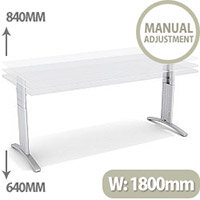 Flex R Height-Adjustable Rectangular Desk 1800x800x640-840mm White