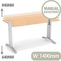 Flex R Height-Adjustable Rectangular Desk 1400x800x640-840mm Beech