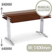 Flex R Height-Adjustable Rectangular Desk 1400x800x640-840mm Walnut